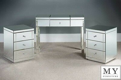 Mirrored Dressing Table/Console and 2 x TOUGHENED  Mirrored Bedside Table Pack