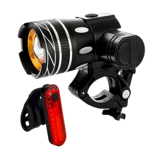 USB T6 Rechargeable Bike Front Headlight Tail Light Set Waterproof Bicycle Light