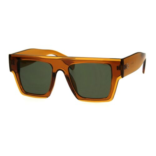 Flat Top Translucent Thic Horn Rim Plastic Mobster Retro Sunglasses