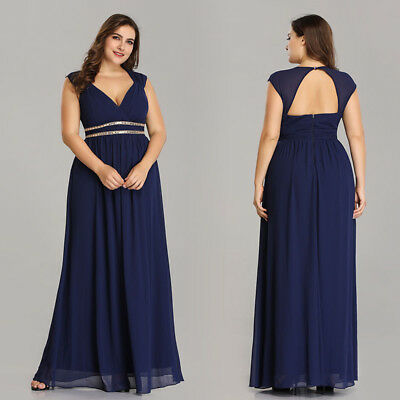 Ever-Pretty Long Navy Blue Bridesmaid Dresses Formal V-neck Wedding Gown  08697 | eBay