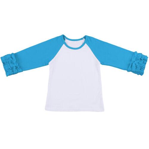 Baby Girls Ruffle T-shirt Pants Outfits Toddler Kid Long Icing Ruffle Top Bottom
