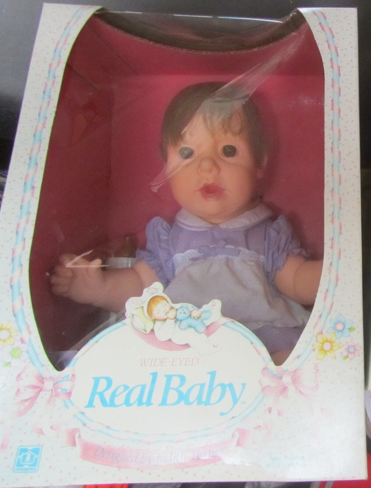 Real Baby Wide Eyed Hasbro anni 80 vintage Design By Judith Turner ABITO VIOLA