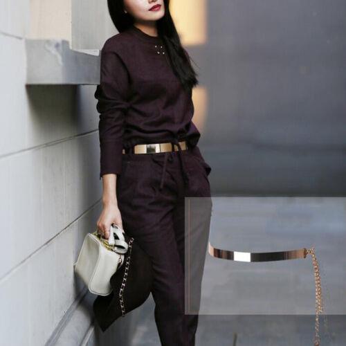 Womens Spiegel Metall Taillengürtel Goldplatte Taillenband mit Kette 2cm