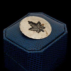 Antique-Vintage-Art-Deco-Argent-Sterling-Rhodium-Canada-Erable-Feuille-Broche