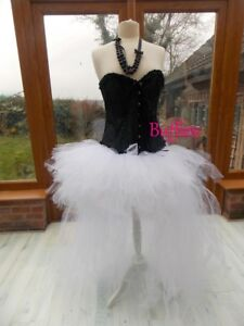 Ladies Long Tutu Black Red White Pink Goth Steampunk Burlesque Bustle Witch 6-20