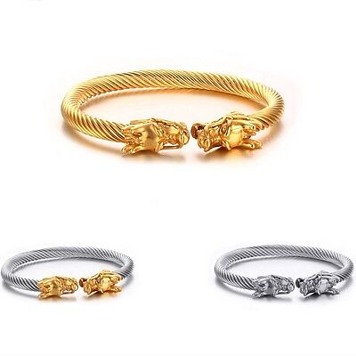"""Stainless steel Wire Cuff Bangle Men Womens Silver Gold Fashion Jewelry 2.36/"""""""