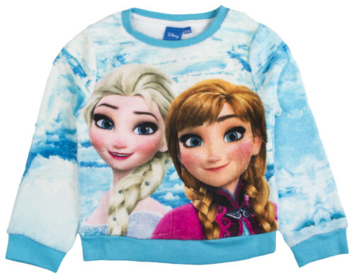 Disney Frozen Fleece Jumper Girls Elsa Anna Sweatshirt Warm Winter Top Size