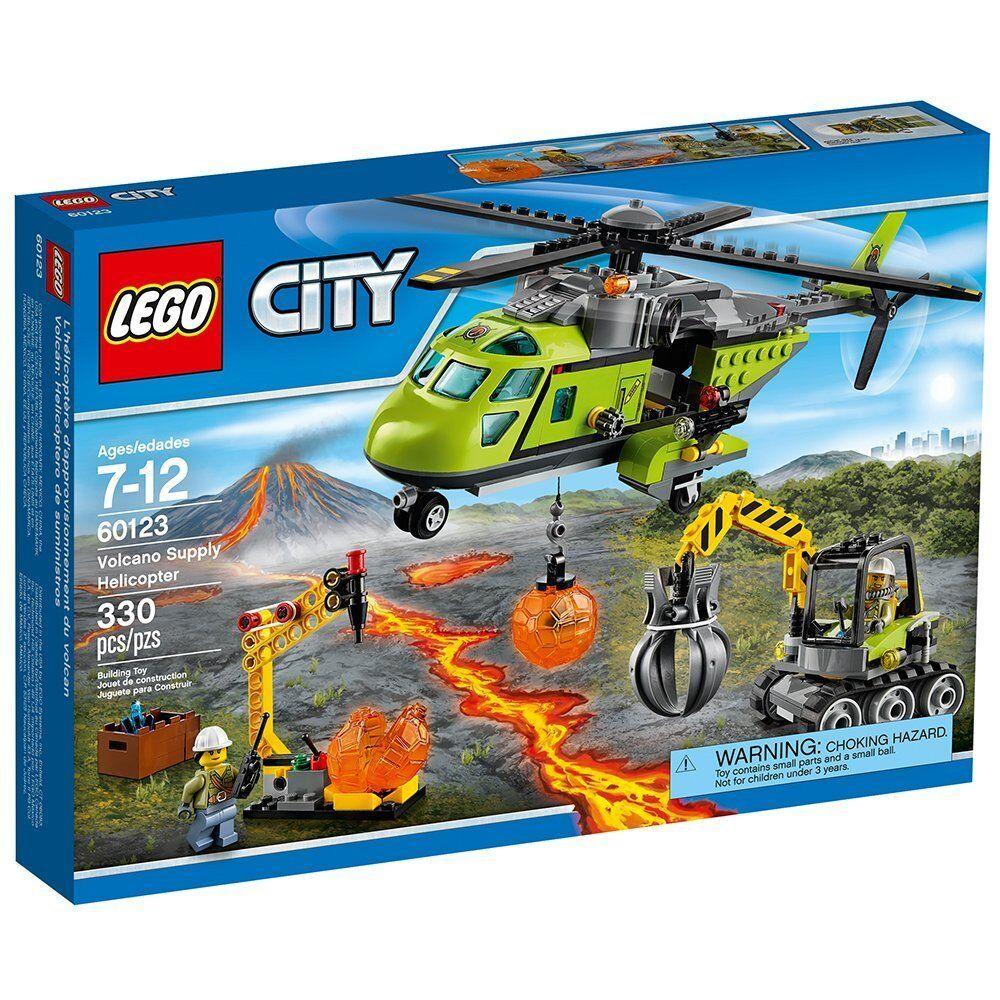 Lego City Helicóptero de suministro de volcán volcán exploradores 60123 Kit de construcción 330 piezas