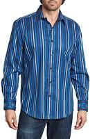 Mens Zagiri Kms-2149 Island In The Sun Blue Stripe Button Down Dress Shirt