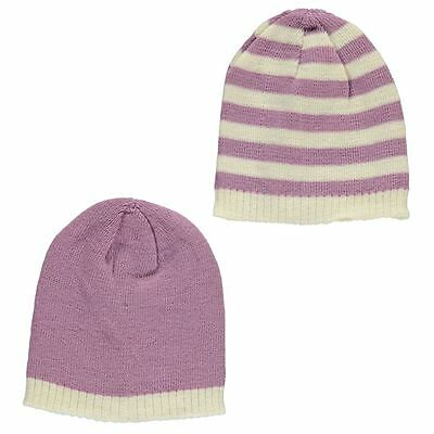 Baby Girl's Knitted Lilac & Cream Winter Hats 2-pack 100% Quality Tick Tock bnwt