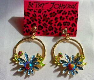 NWT-BETSEY-JOHNSON-BLUE-FLOWERS-DANGLE-CRYSTAL-EARRINGS