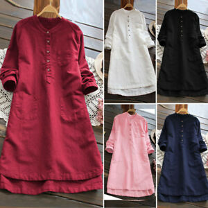 Ladies-Women-Summer-Long-Sleeve-T-shirt-Cotton-Linen-Casual-Loose-Dress-S-3XL
