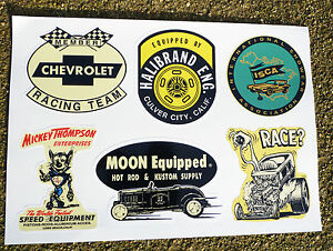 Sticker Set Hot Rod Rat 14x10cm Rat Rod Decal Set US Car Chevy Pick Up Ford