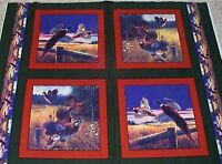 4 Beautiful Pheasant Pillow Panels Fabric Cotton Wildlife