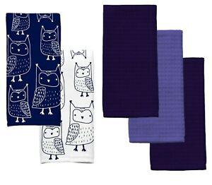 Owl Tossed Kitchen Towels 5 Pc Navy Blue White Cotton 2 Print 3 Solid Bird Decor 73558793915 Ebay