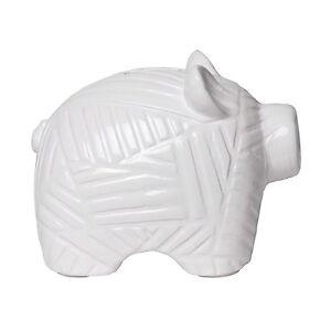 C.R. Gibson Ceramic Piggy Bank, White Piggy