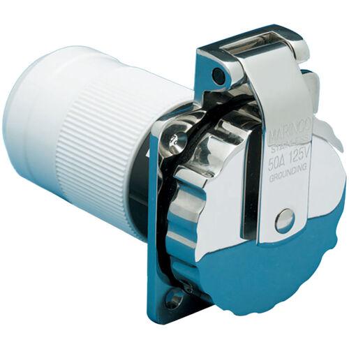 Marinco 6373EL-B Stainless Steel Power Inlet 50 Amp 125//250 Volt