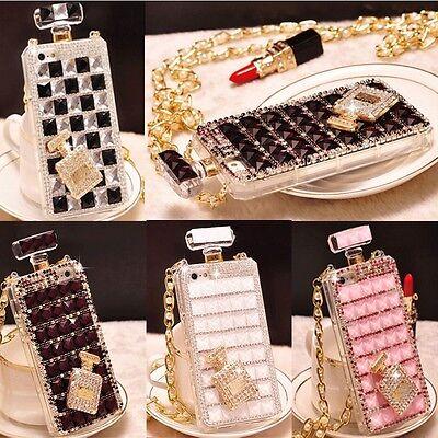 Luxury Crystal Diamond Perfume Bottle Shape Handbag Case Cover For Various Phone