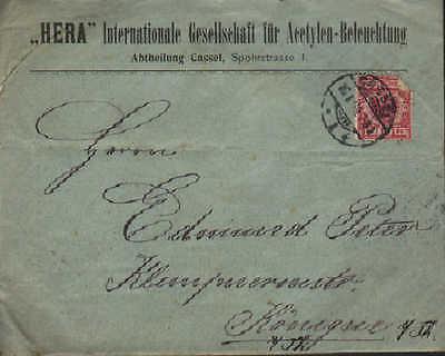 Offizielle Website Kassel Hera Internationale Gesellschaft Für Acetylen-beleuc Briefumschlag 1899