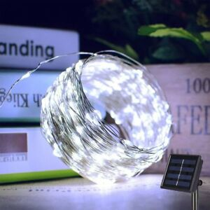Outdoor-Solar-String-Lights-100-LED-Copper-Wire-Fairy-Light-Garden-Decor-White