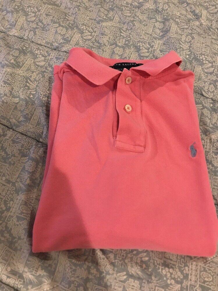 damen's Ralph Lauren Classic Fit Collarot Shirt In Rosa, Größe XL