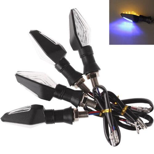 12LED Amber+Blue Motorcycle Turn Signal Indicator Light Blinker Universal BWHTC