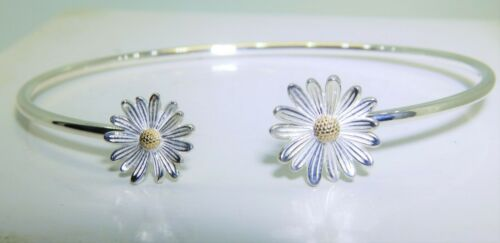 925 Sterling Silver Daisy Cuff Bangle Bracelet