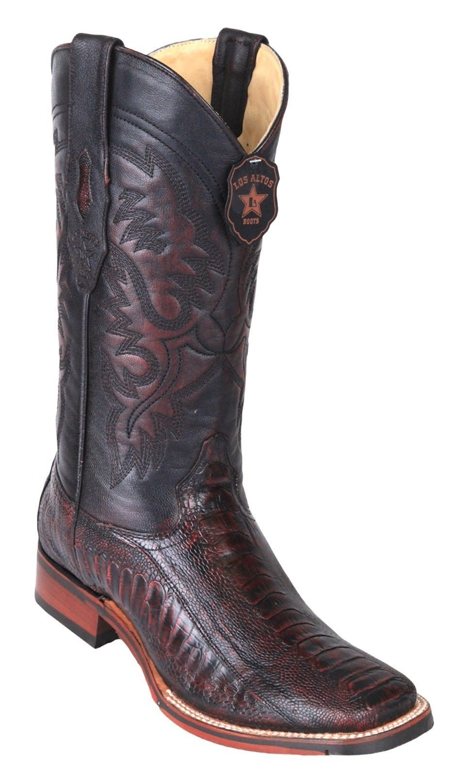 Los Altos CHERRY Ostrich LEG Square Toe TPU Rubber Sole Western Cowboy Boot EE+