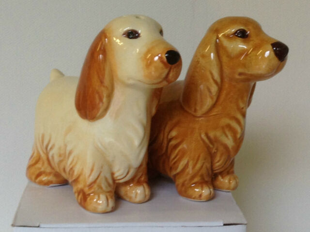 NOVELTY DOG CRUET SETS SPANIEL SALT AND PEPPER POTS PAIR OF SHAKERS