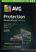 Brand 2015 Avg Protection Unlimited Devices 1 Years