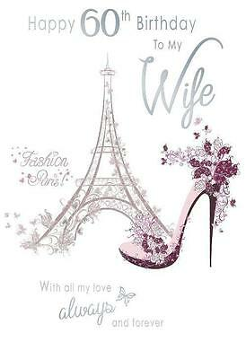 Feliz 60º cumpleaños a mi esposa Moda de París Eiffel Zapato Torre Diseño Tarjeta