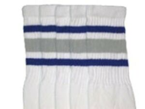 """19"""" Mi-mollet Blanc Chaussettes Avec Royal Bleu/gris Rayures Style 3 (19-42)-afficher Le Titre D'origine"""