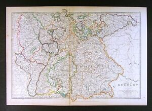 1906 johnston royal atlas map south german empire bavaria baden image is loading 1906 johnston royal atlas map south german empire gumiabroncs Gallery