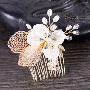 Bride-Hair-Comb-Wedding-Leaf-Flower-Floral-Bridal-Hairpins-Women-Jewelry-Golden