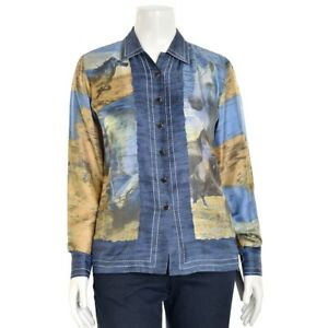 Escada-Margaretha-Ley-Blue-Brown-100-Silk-Horse-Print-Blouse-Shirt-Top-sz-38-8