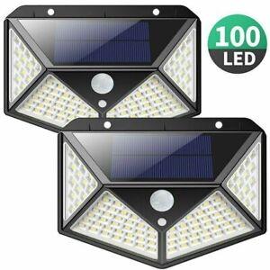 2x-Lampe-Solaire-a-100-LED-Detecteur-de-Mouvement-Spots-Eclairage-Mural-Jardin