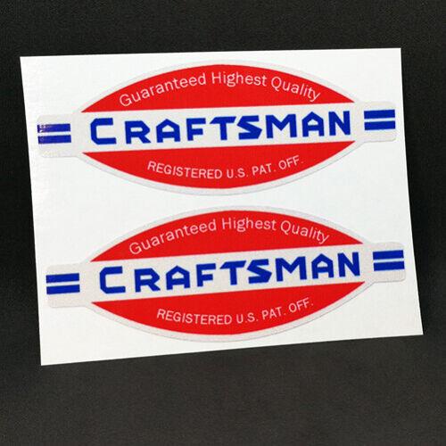 "CRAFTSMAN TOOLS Vintage Style DECALS 4.25/"" Vinyl STICKERS x 2"