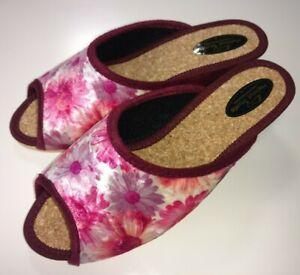 Helmut-Trunte-Damen-Schuhe-Hausschuhe-Pantoffeln-Pantolette-10120-fuchsia-Kork