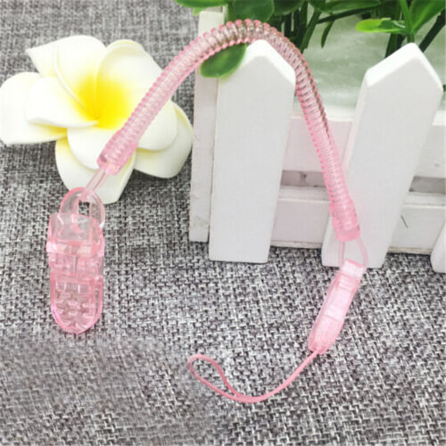 Baby Infant Spring Dummy Pacifier Soother Nipple Clip Chain Holder Strap LY