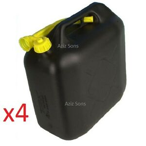 4x-20L-Black-Plastic-Jerry-Cans-Diesel-Petrol-Fuel-Water-3-flexible-Spouts-UK