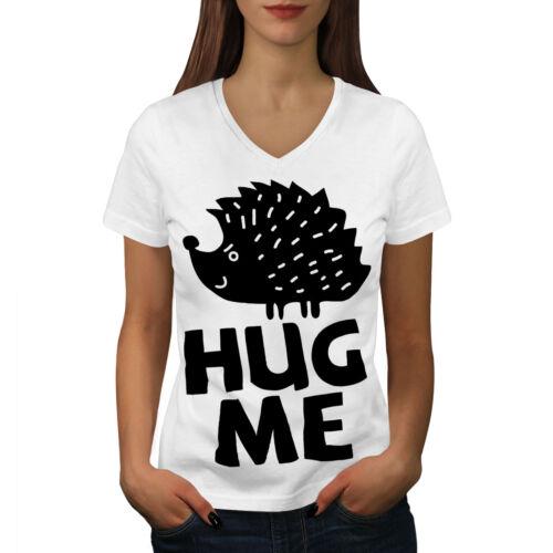 Humor Graphic Design Tee Wellcoda Hug Me Hedgehog Fun Womens V-Neck T-shirt