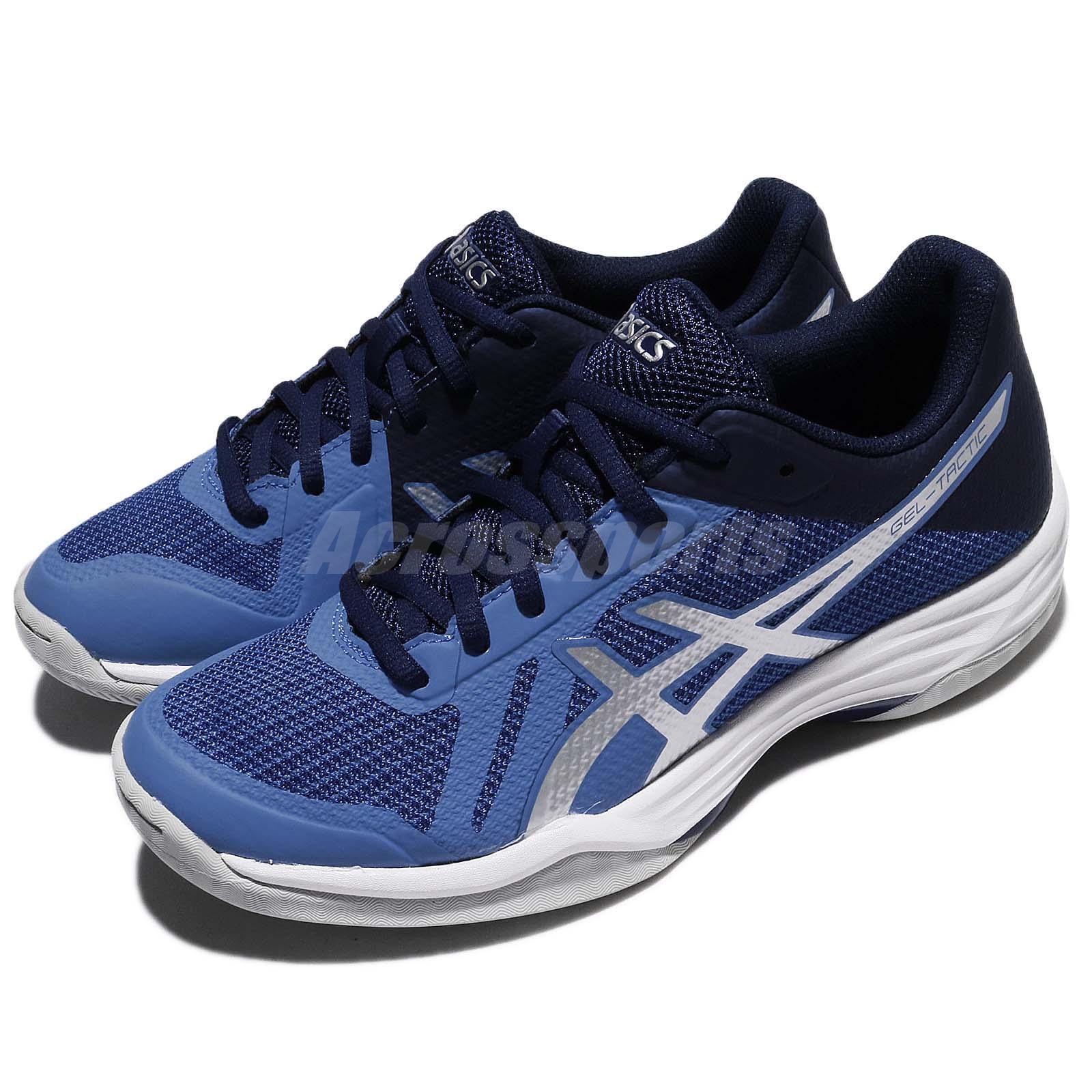 71d63da7f47212 Asics Gel-Tactic bleu argent femmes Indoor Badminton Volleyball chaussures  B752N-4093