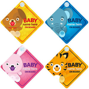 Personalised-Animal-Themed-Baby-on-Board-Car-Signs-Choice-of-Designs-Boy-Girl