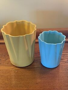 Nice-Pair-Of-2-Vintage-Mid-Century-Alamo-Pottery-Vases-Yellow-And-Blue-Perfect