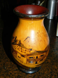 Hand Carved Wood Vase Etched Mountain Home and Trees Lacquer Finish