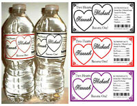 50 Hearts Wedding Water Bottle Labels Waterproof Any Color