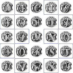 Fashion-Silver-Charms-A-Z-Style-CZ-Alphabet-Bead-Fit-Diy-925-sterling-Bracelets