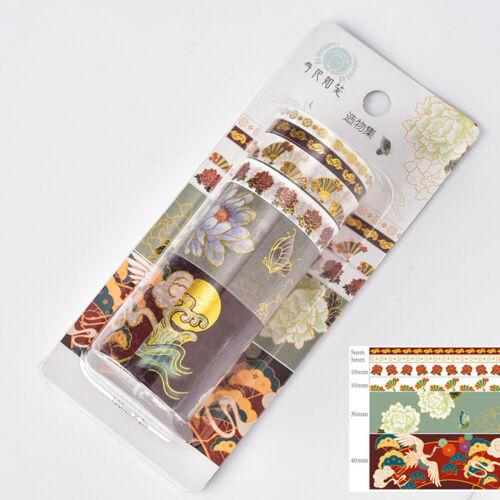 6 Rolls Floral Washi Tape Sticker Adhesive Masking Tape Scrapbooking DIY Crafts