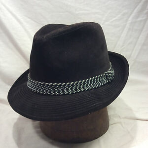 56681e760d4 Dark Chocolate Brown Fedora Men s Hat w  Grey and Black Band Vintage ...
