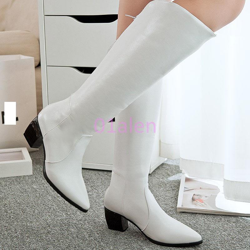 HOT Womens Cuban Heel Knee High Long Riding Boot Zip Leather shoes Winter Autumn
